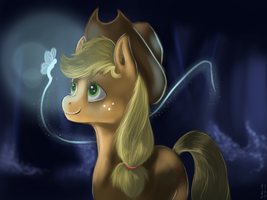 Applejack and the luminescent  butterfly by imsokyo