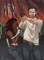 WALKING DEAD - Rick and Michonne by SolDevia