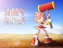 Amy Rose Wallpaper by mARTz-9o