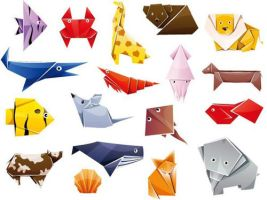 Cute Origami Animals Vector Graphics by Designslots