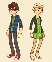 Hipsters - Stu and Astrid by SomeoneWhoDoodles