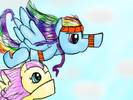 Fluttershy Helps Rainbow Dash Train for a Race by RadiancetheCyberpony