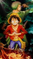 Luffy and Zoro by santaparty