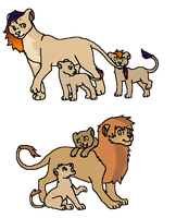 Mother and father (lion) with cubs 2 LEFT! by Zari-Adoptables