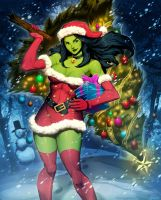 Santa She-Hulk 1 by GENZOMAN