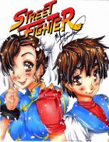 Street Fighter Chunli y Sakura by chocolatecomet