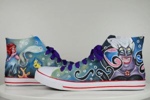 Little Mermaid Ariel and Ursula Sneakers by mymudra