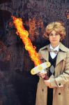 Aziraphale and his flaming sword by Nightrose85