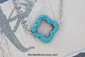 Turquoise Clover Necklace by MonsterBrandCrafts