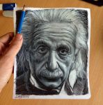 Albert Einstein pencil drawing ( pocket size ) by AtomiccircuS