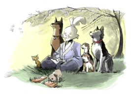 Usagi and the Beasts of Burden by caanantheartboy