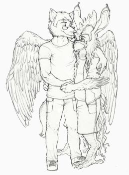 Commission: Nuke and Thoth by lycanthropeful