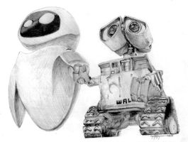 Wall-E and Eve by cwhistle