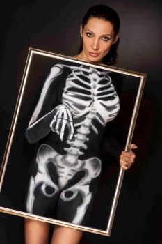 Skeleton in frame bodypainting 1 by AngieStock