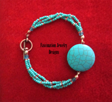 Turquoise Howlite Bracelet by BloodRed-Orchid