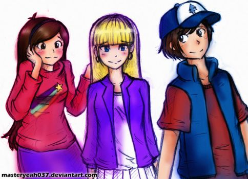 Mystery Kids (Dipper, Mabel , Pacifica) by MasterOhYeah