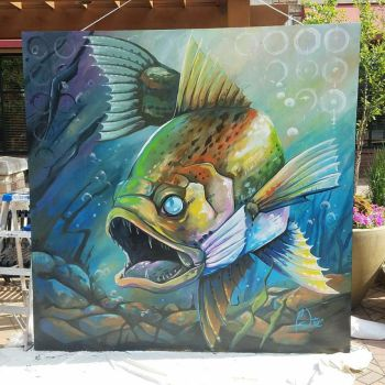 Minnesota Walleye Fish Mural by charfade