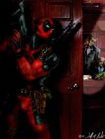 Deadpool at the office by frostbitegraphix