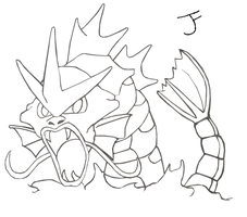 Gyarados Lineart by Bubby-Bobble
