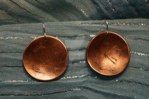 Large Domed Etched copper Earrings by ArtsyShan
