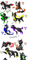 Rainbow Wolves/Cats Adopts :OPEN: by JELL-IES