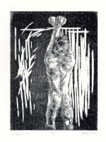 Scourging - Monoprint by joshthecartoonguy