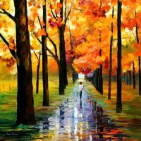 Yellow Rain by Leonid Afremov by Leonidafremov