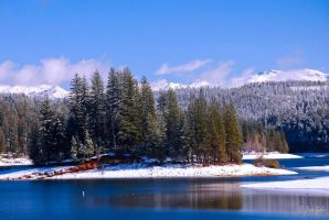 Snow on Sly Park Lake by StephGabler
