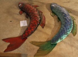 10ft Koi Fish 3D Leather Wall Art by Azmal