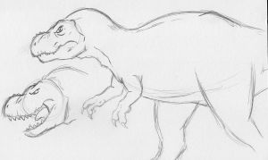 Sketchy Sketch - Tyrannosaurus by Marvelousboy