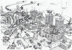 Hell's creature in the city by Aftermath1990