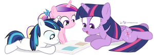 Storytime with Shiny and Cadance by dm29