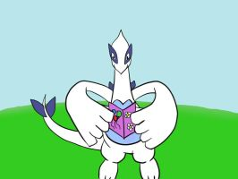 Lugia with birthdaycard by Marlous2604