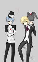 Alois and Ciel with Mokonas by GothicRaine1712