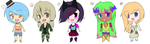 Chibi Girls adoptables for 30 points by KidInvisible