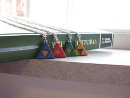 Legend of Zelda Triforce Necklaces by totalexistancefail
