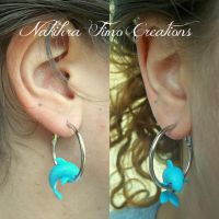 Dolphin Earring Polymer Clay by Nakihra