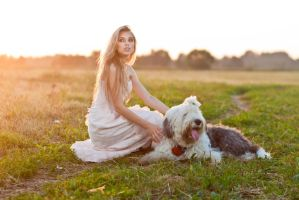 Portrait of a girl with a dog by DenisGoncharov