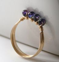Czech Glass Ring by WrappedbyDesign