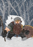 Viking in the snow by The--Woodsman