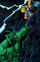 Hulk V.S Thor colored by WTK