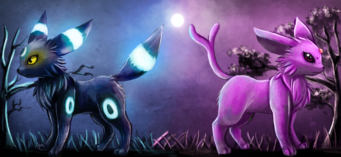 Umbreon and Espeon by Deruuyo