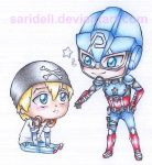 Marvel disk wars: The Avengers - Cap and Chris by SariDell