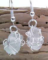 Seaspray- Wire Wrapped Scottish Seaglass Earrings by cunningcatcrafts