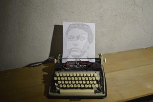 Drawing a Portrait With Typewriter by EdwardBlackRose