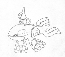 Little Kyogre+Surfin Larvitar by sunnyfish