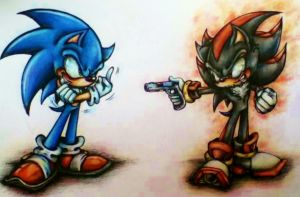 Sonic and Shadow Tattoo design: Colour pencil by MissTangshan95