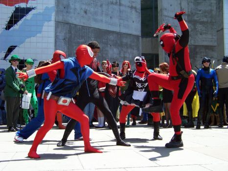Fanime 2012-Spider Man vs. Deadpool by clawmaster