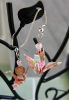 Pink Sakura Crane Earrings by limejutsu