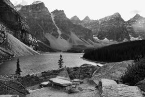 Moraine Lake in B and W by Joe-Lynn-Design